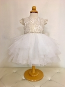 Teter Warm Hi Low Lace/Tulle Ivory/Gold Infant Dress