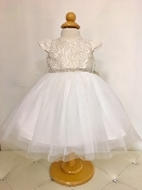 Teter Warm Lace/Tulle Ivory/Gold Infant Dress