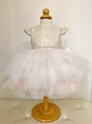 Teter Warm Hi Low Lace/Tulle Ivory/Blush/Gold Infant Dress