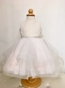 Teter Warm Lace/Tulle Ivory/Blush/Gold Infant Dress