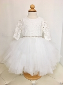 Teter Warm Hi Low Lace/Tulle Ivory Infant Dress w/Sleeves