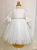 Teter Warm Lace/Tulle Ivory Infant Dress w/Bell Sleeves