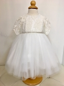 Teter Warm Lace/Tulle Ivory Infant Dress w/Short Sleeves