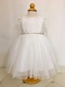 Teter Warm Lace/Tulle Ivory Infant Dress w/Flutter Sleeves