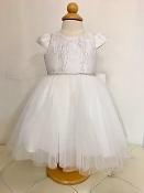 Teter Warm Jacquard/Tulle Ivory/Silver Infant Dress