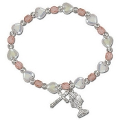 Communion White Pearl & Flower Stretch Bracelet