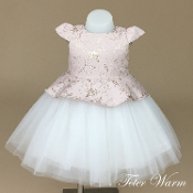 Teter Warm Jacquard/Tulle Vintage Pink/Gold Infant Dress