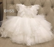 Teter Warm Lace Ruffle/Tulle Ivory Infant Dress
