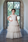 Ivory Embroidered Lace & Tulle Layered Dress