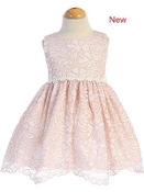 Pink Lace Dress w/Floral Trim Waist