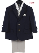 Boy's 3 button suit with jacket, vest, necktie, shirt and pant