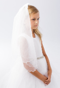 Plain Veil with Scalloped Cord Edging