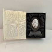Glass Plaque w/Pewter Madonna & Child Personalized Bomboniere