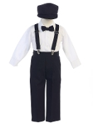 Suspender pant set with hat