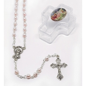 4mm Pink Baby Rosary in Guardian Angel Cross Box