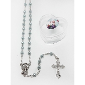 4mm Baby Blue Rosary in Baptism Heart Box