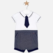 Mayoral Baby Boy Romper with Tie
