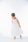 Girls Satin/Tulle Dress w/Lace Sleeves ,