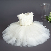 Teter Warm Crochet/Tulle Ivory Infant Dress w/Lace Hem