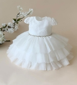 Teter Warm Crochet/Tulle Ruffled Infant Dress