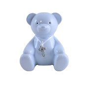 Blue Metal Teddy Bear Bank with Cross