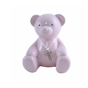 Pink Metal Teddy Bear Bank with Cross
