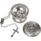 2pc Silver Precious Moment Communion Box/Rosary