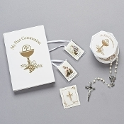 5pc White/Gold First Communion Gift Set