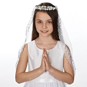 "27.2""L KATE PEARL TIARA W/TRIM COMMUNION VEIL"