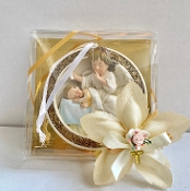 Glass Plaque w/Pewter Holy Family Personalized Bomboniere