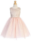 Blush with Gold Jacquard Bodice Dress with Tulle Skirt