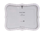 6x4 White Baptism Frame with Cross