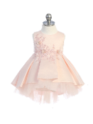 Infant Satin Hi Low Dress with Embroidery, Tulle Hemline