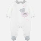 Mayoral Baby Velour Footie with Hearts