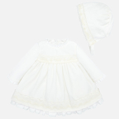 Mayoral Baby girl Velvet Dress and Bonnet