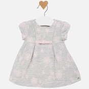 Mayoral Baby girl Jacquard Dress with Pink Flowers