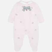Mayoral Baby Velour Sleeper w/Silver Hearts