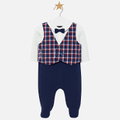 Mayoral Baby Check Vest/Navy Footie