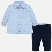 Mayoral Baby boy Dress Shirt, Navy Pants, Navy Jacket
