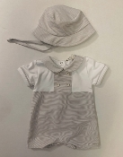 EMC Striped Onesie, Matching Hat Set