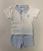 EMC Blue Seersucker Jumper, Matching Tee Set
