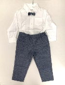 EMC White Dress Shirt, Bow Tie, Navy Pant Set