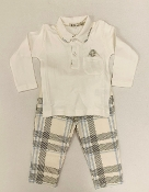 EMC 2pc Ivory Interlock Polo, Plaid Pant Set