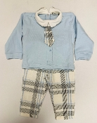 EMC 2pc Blue LS Shirt w/Tie/Plaid Pant Set