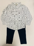 EMC White w/Navy Dot LS Shirt/Navy Pant Set