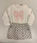 EMC 2pc LS Tee with Pink Bow/Grey & Pink Floral Skirt