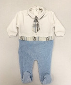 EMC Ivory/Blue Velour Sleeper w/Plaid Tie