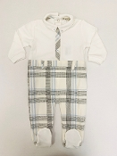 EMC Ivory/Plaid Velour Dressy Sleeper