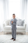 Leo & Zachary Blue Glen Checks Blazer/Pant Set