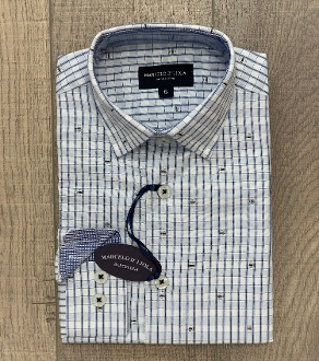 Leo & Zachary Cloud/White Check w/Stitch Dress Shirt